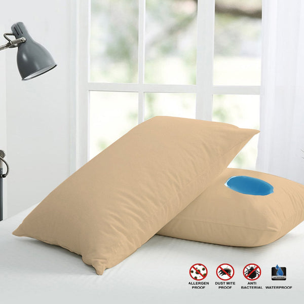 Terry Waterproof Pillow Protector-(3652)Brown