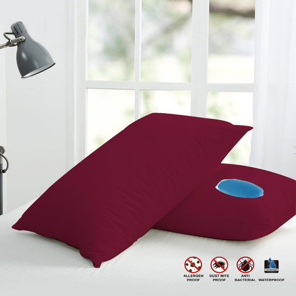 Terry Waterproof Pillow Protector-(3652)Burgundy