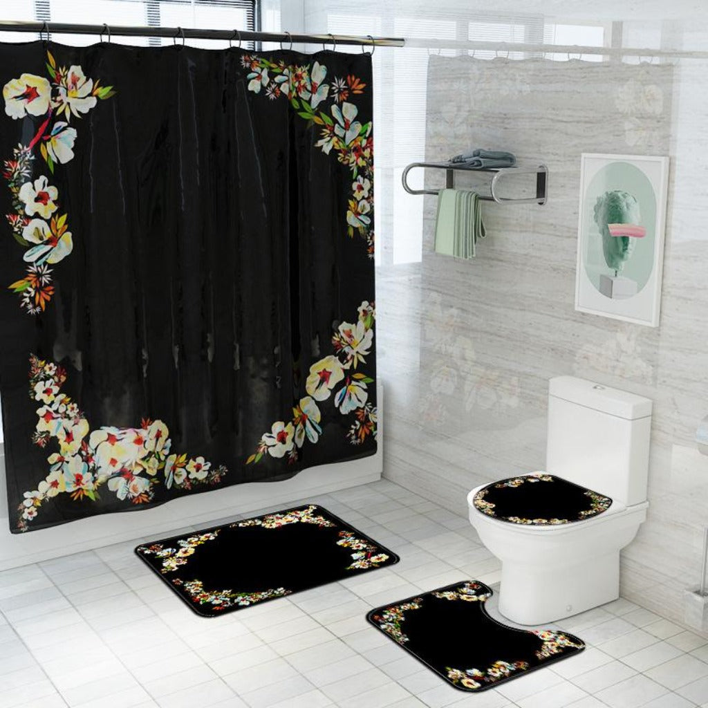 4 PCs Shower Curtain anti slip Mat (3763) set-SA-57