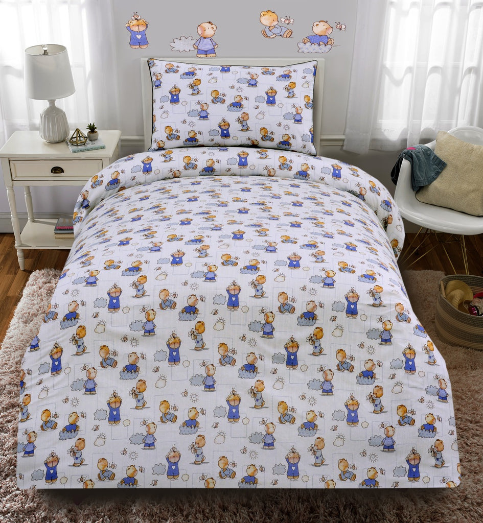 Junior Single Bed Sheet-(3788)Teddy Bear White