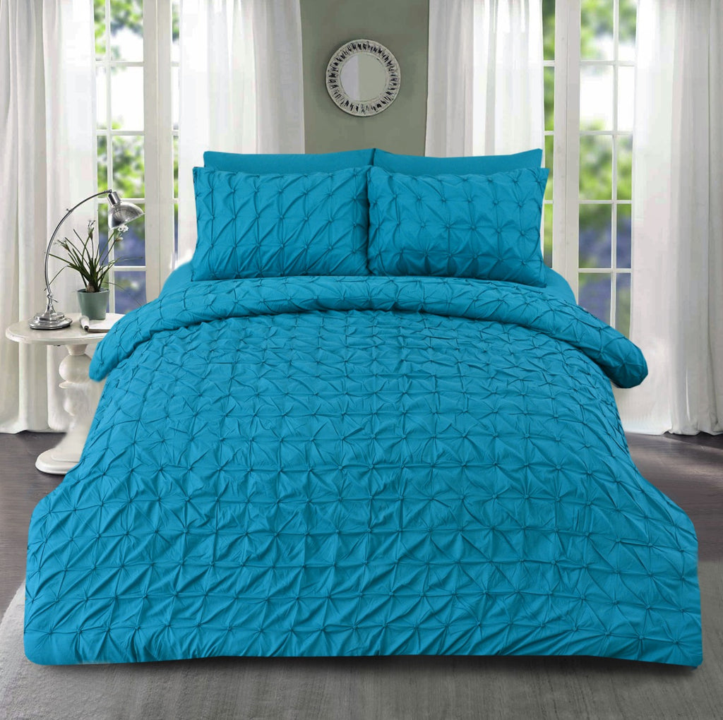 3 PCs Pintuck Quilt Cover Set-Turquoise