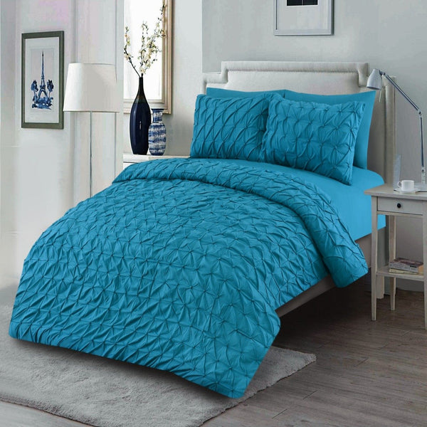 6 PCs Pintuck Quilt Cover(3263) Set-Turquoise