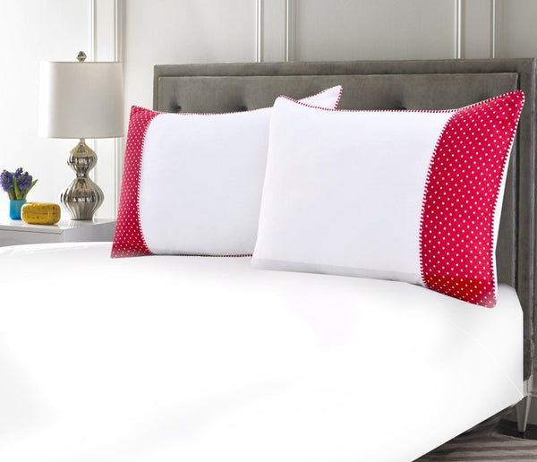 White Pillows Pair(3330) With-Red Polka