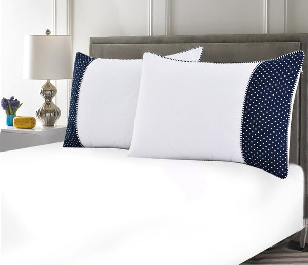 White Pillows Pair(3330) With-Navy Blue Polka
