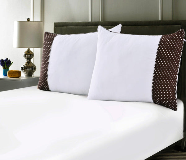 White Pillows Pair(3330) With-Brown Polka