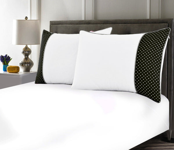 White Pillows Pair(3330) With-Black Polka