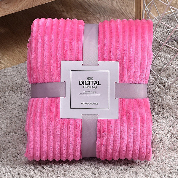 LOUNGE FLEECE BLANKET EMBOSED LINE- PINK