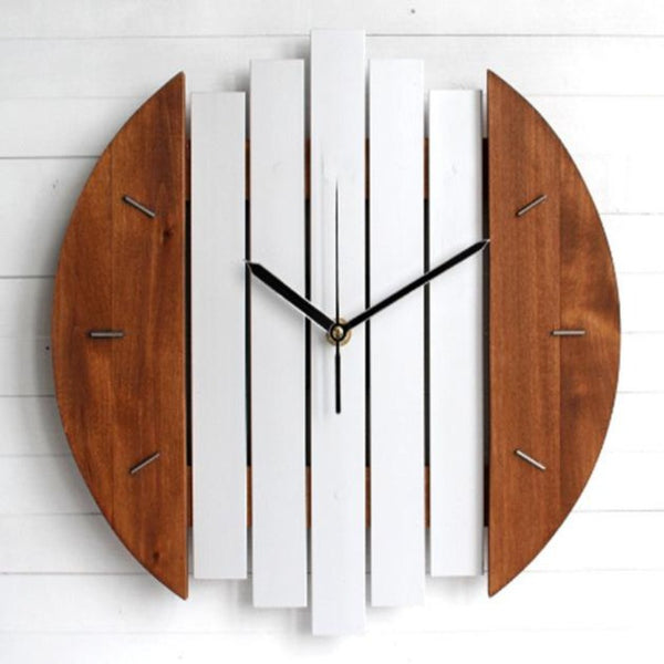 Wall Clock-Brown & White