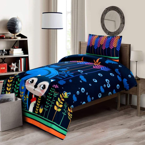 Digital Printed Junior Single Bed Sheet-Snow Cat