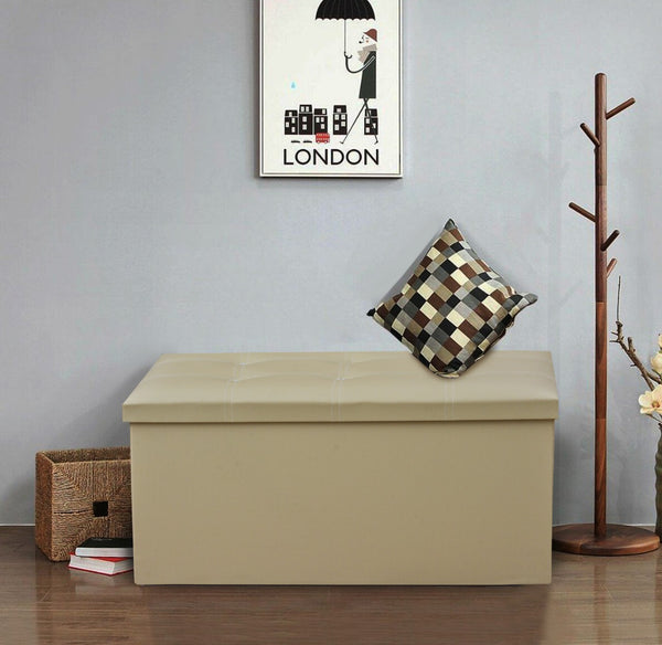 2 Seater Modular PU Leather Folding Storage  -Beige