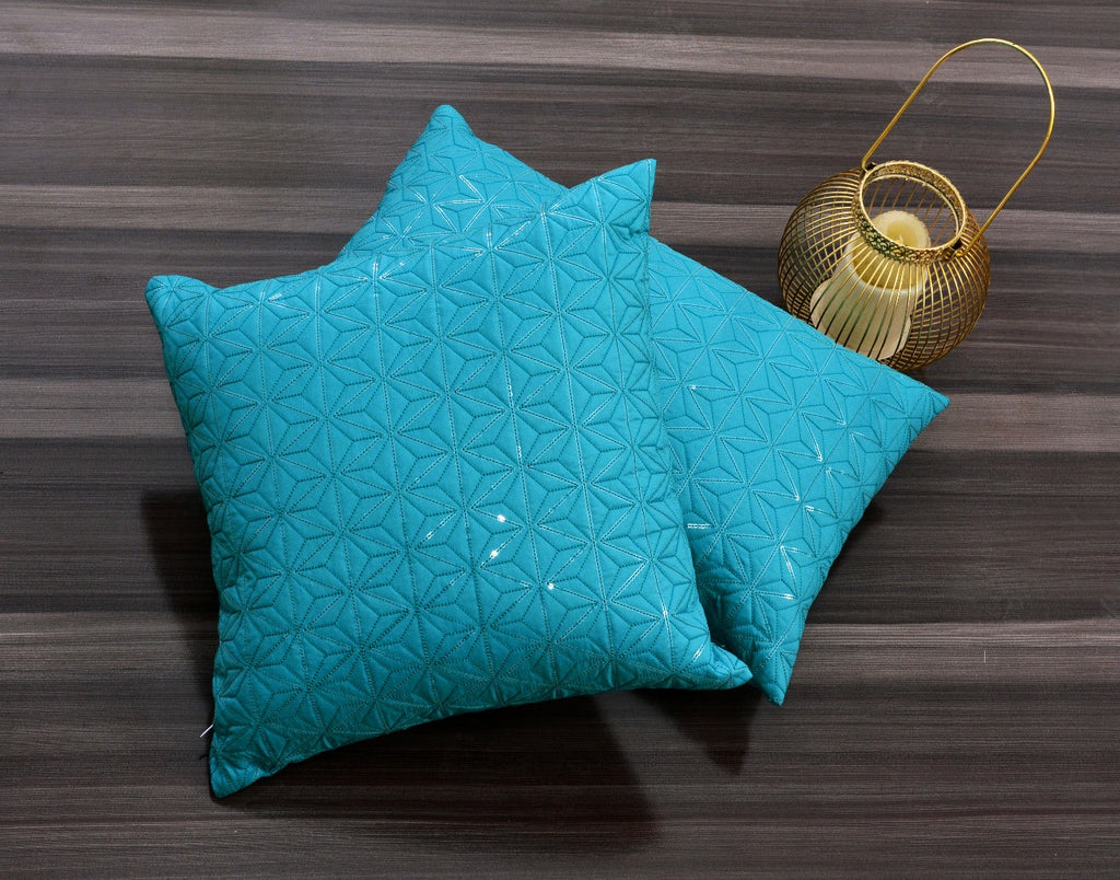 Sequence Embroidered 2 PCs Deck Pillow & Cushion- Turquoise