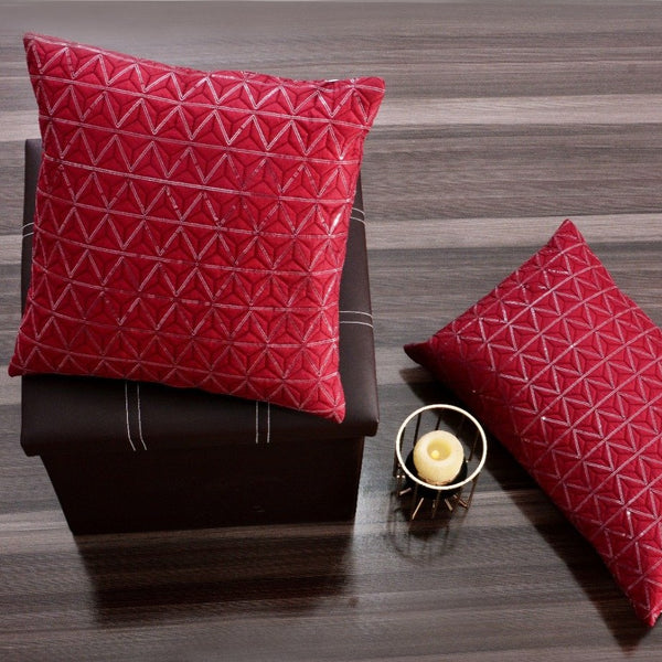 Sequence Embroidered 2 PCs Deck Pillow & Cushion- Burgundy