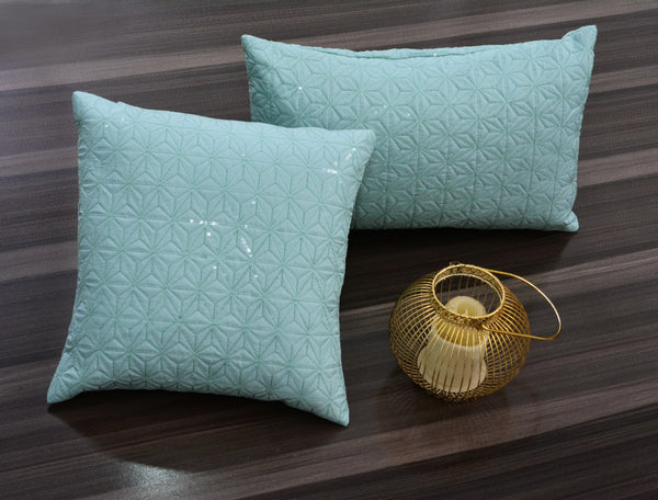 Sequence Embroidered 2 PCs Deck Pillow & Cushion- Pistachio
