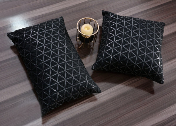 Sequence Embroidered 2 PCs Deck Pillow & Cushion- Black