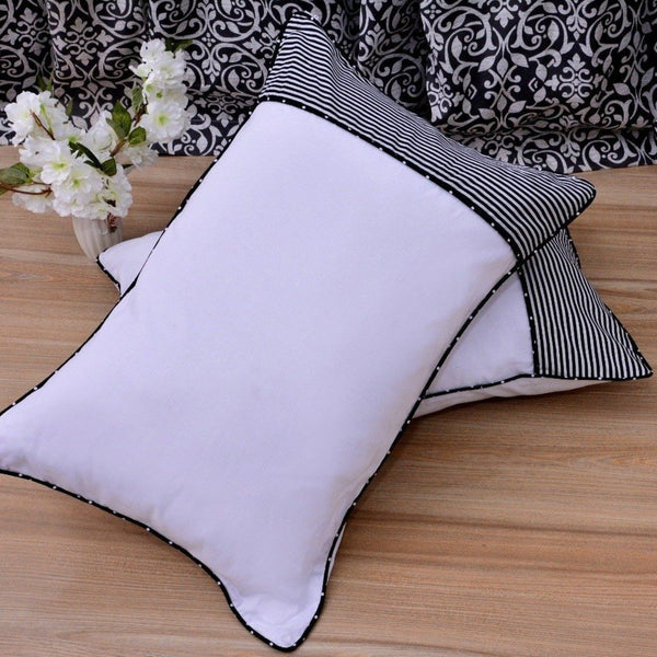White Pillows Pair(3330) With-Black  Stripes