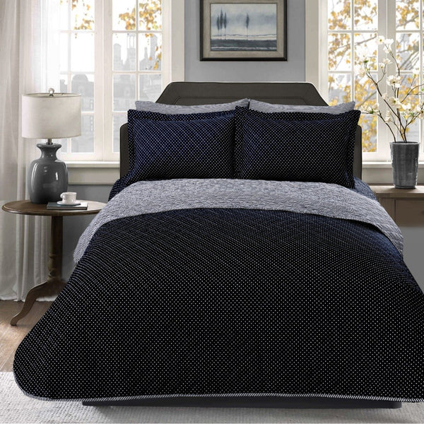 6 PCs Bed Spread Set-Black Polka