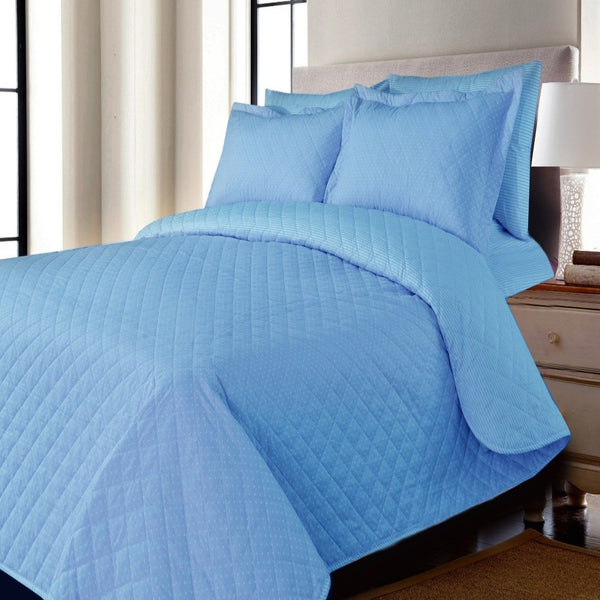 3 PCs Bed Spread Set-Sky Blue Polka Dots