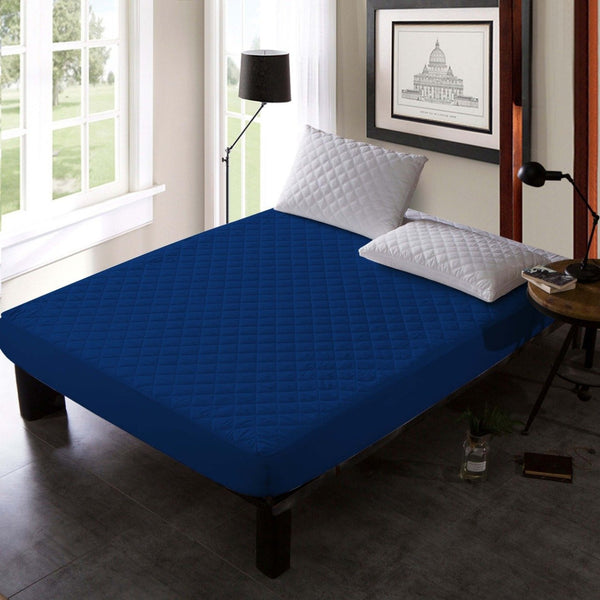 QUILTED WATERPROOF MATTRESS PROTECTOR-NAVY BLUE