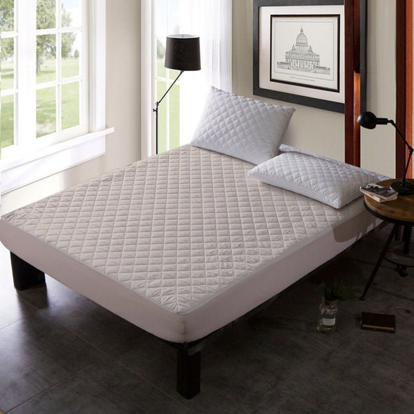 QUILTED WATERPROOF MATTRESS PROTECTOR - OFF WHITE