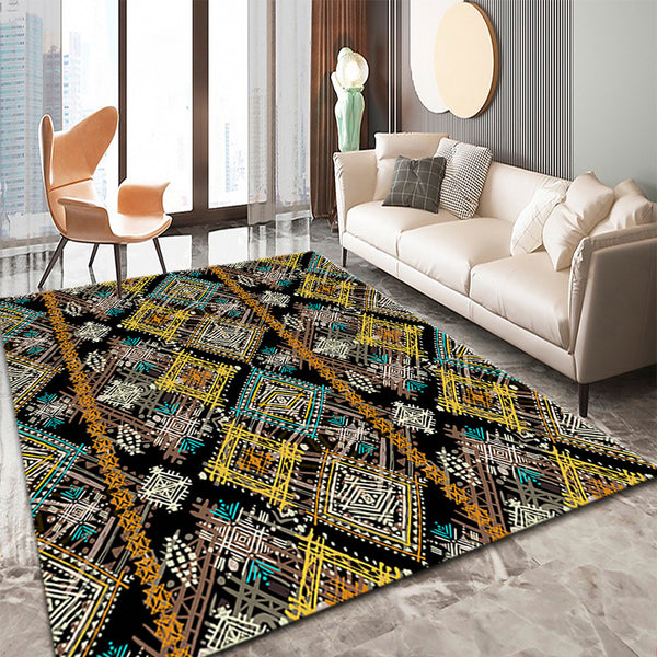 100x200cm Living Room Rug Rectangular-Black Creative