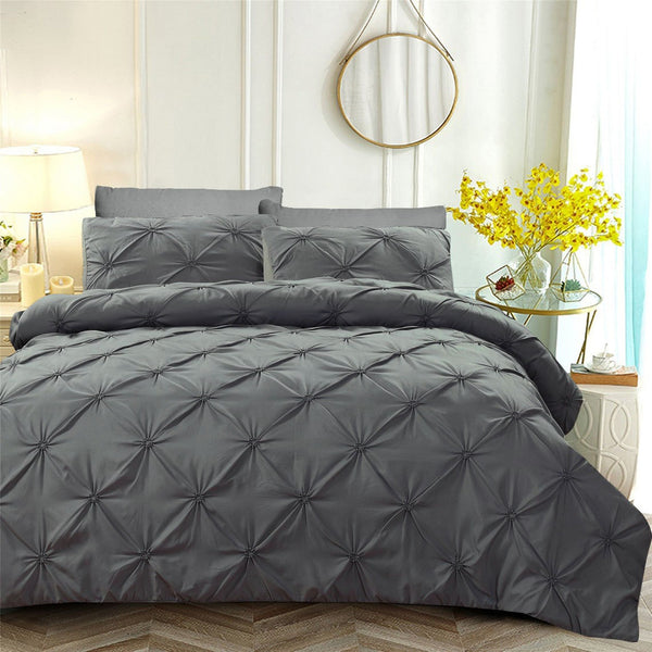 6 PCs Pintuck Quilt Cover(3263) Set-Dark Grey