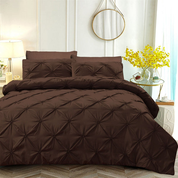 6 PCs Pintuck Quilt Cover(3263) Set-Chocolate Brown