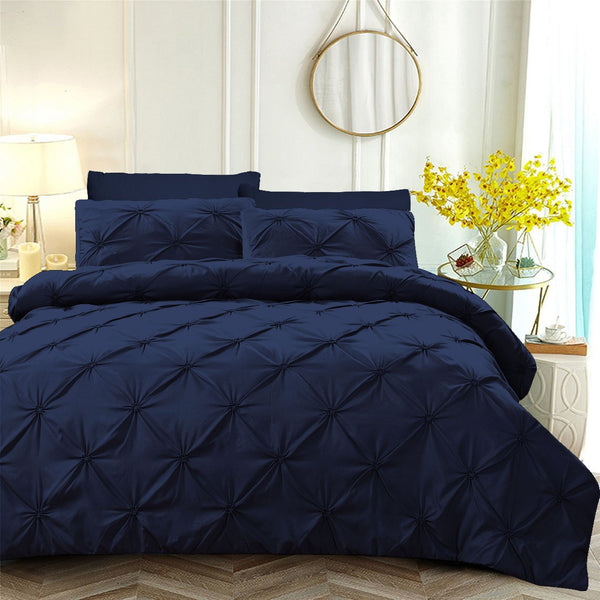 6 PCs Pintuck Quilt Cover(3263) Set-Navy Blue