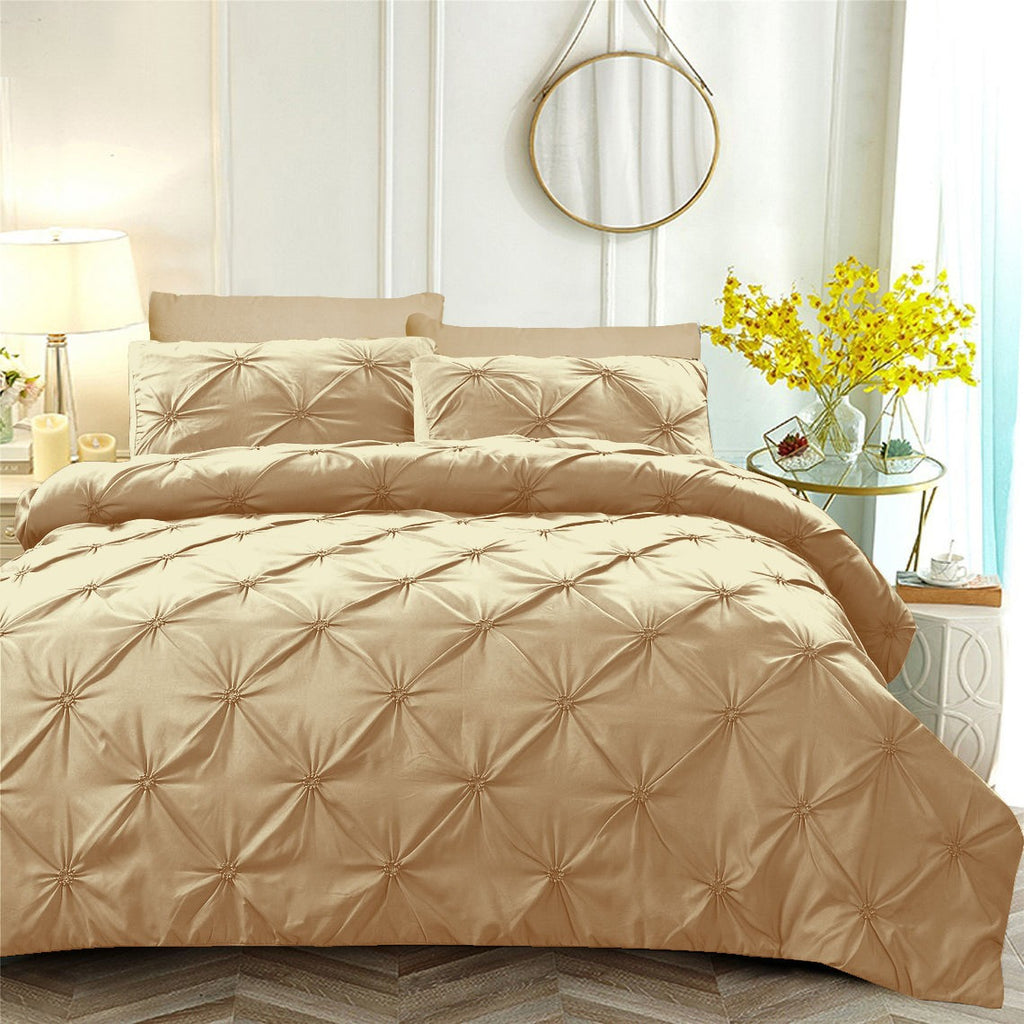 6 PCs Pintuck Quilt Cover(3263) Set-Beige