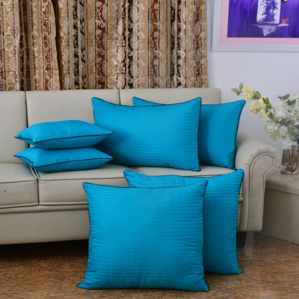 6 PCs Satin Pillows (1480*2) Bed Cushion (1481*2) & Floor Cushion (3164*2) Set-Aqua Blue