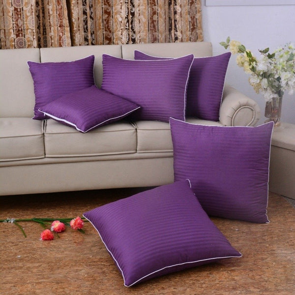 6 PCs Satin Pillows (1480*2) Bed Cushion (1481*2) & Floor Cushion (3164*2) Set-D/Purple