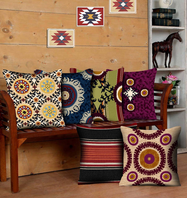Digital Printed Satin Cushions Assorted 6PCs-Suzane