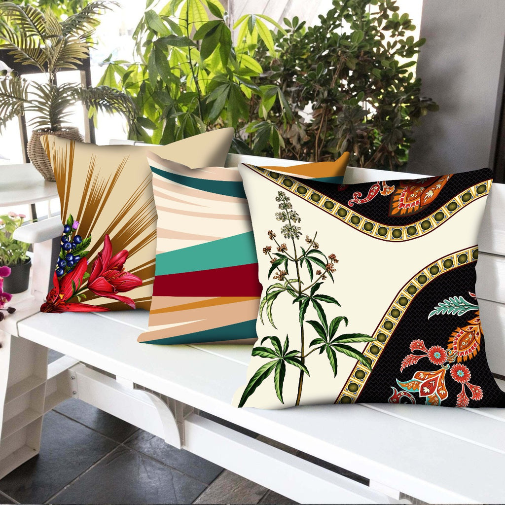 Digital Printed Satin Cushions Assorted 3PCs-Floral Set