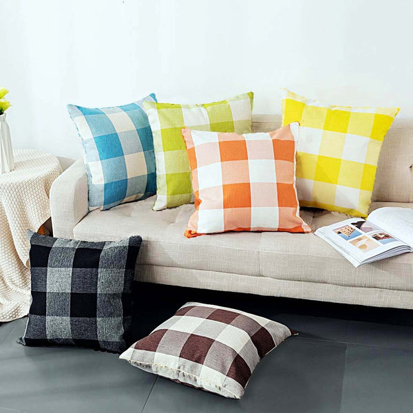 Check Box Digital Printed Duck Cushions-Pack of 6
