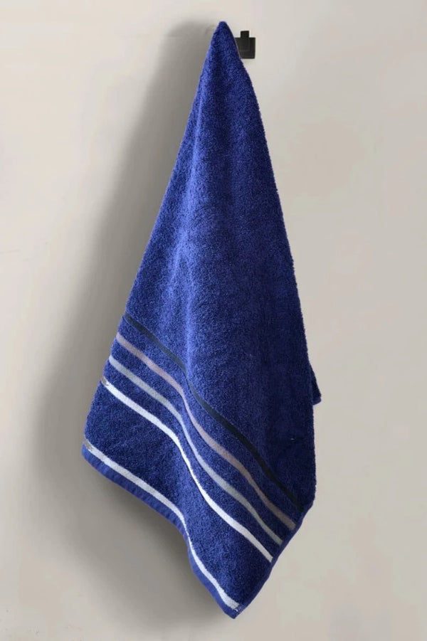 Cotton Towel With Jacquard Stripe (1895) -Navy Blue
