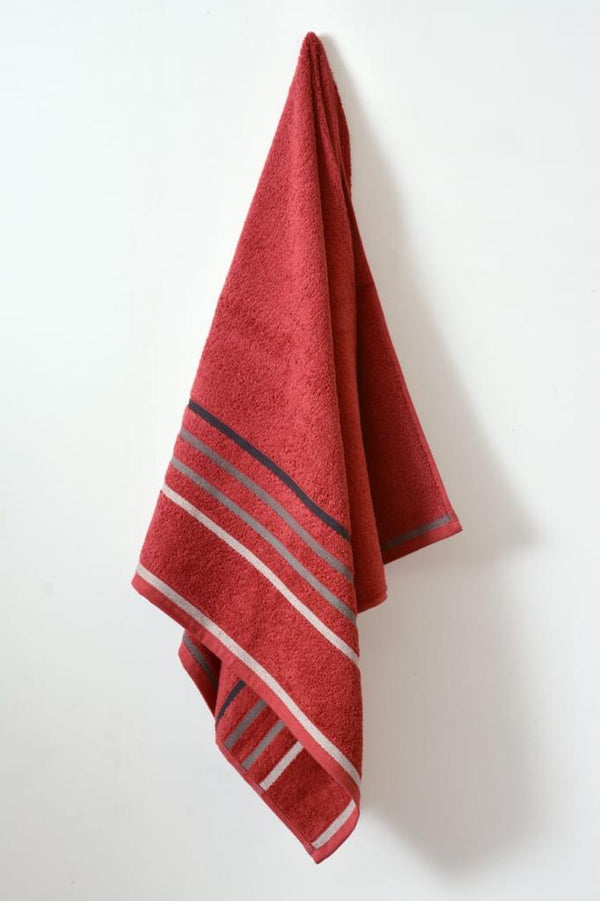 Cotton Towel With Jacquard Stripe(1896)  - Burgundy