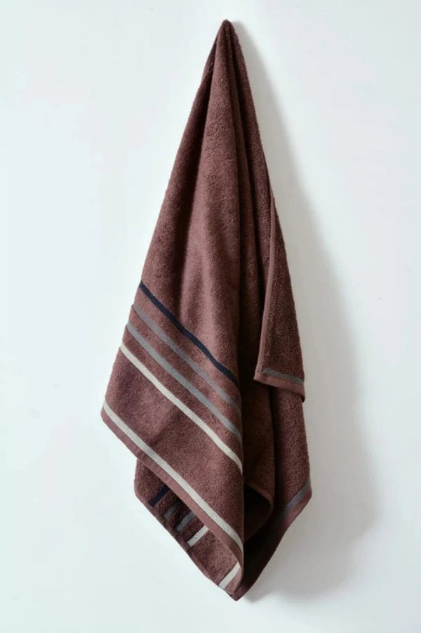Cotton Towel With Jacquard Stripe (1898) - Brown