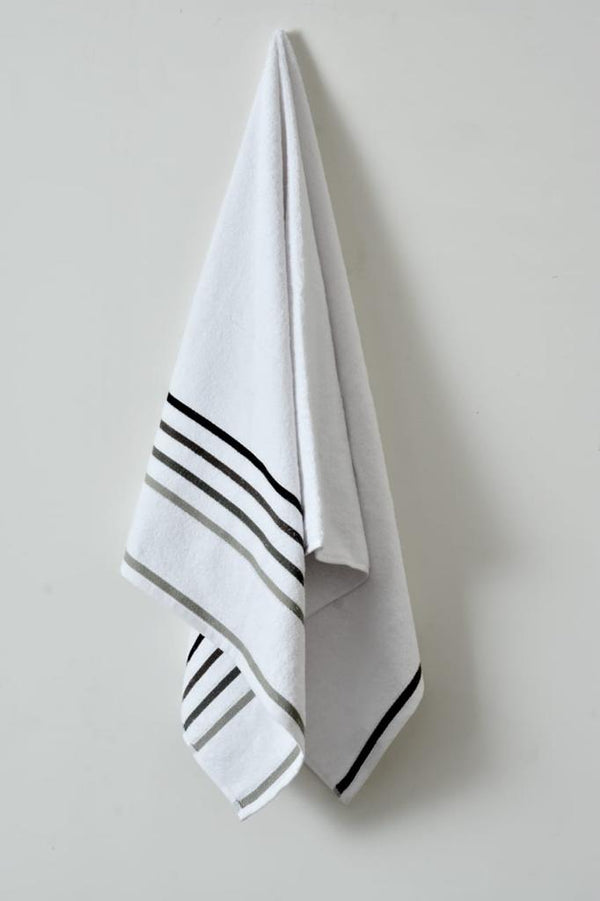 Cotton Towel With Jacquard Stripe (1897)- White