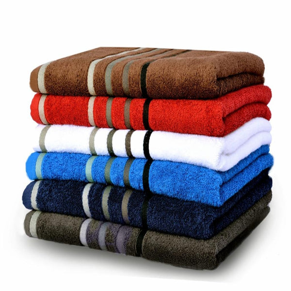 PACK OF 6 - Jaquard Stripe 100% cotton Towels