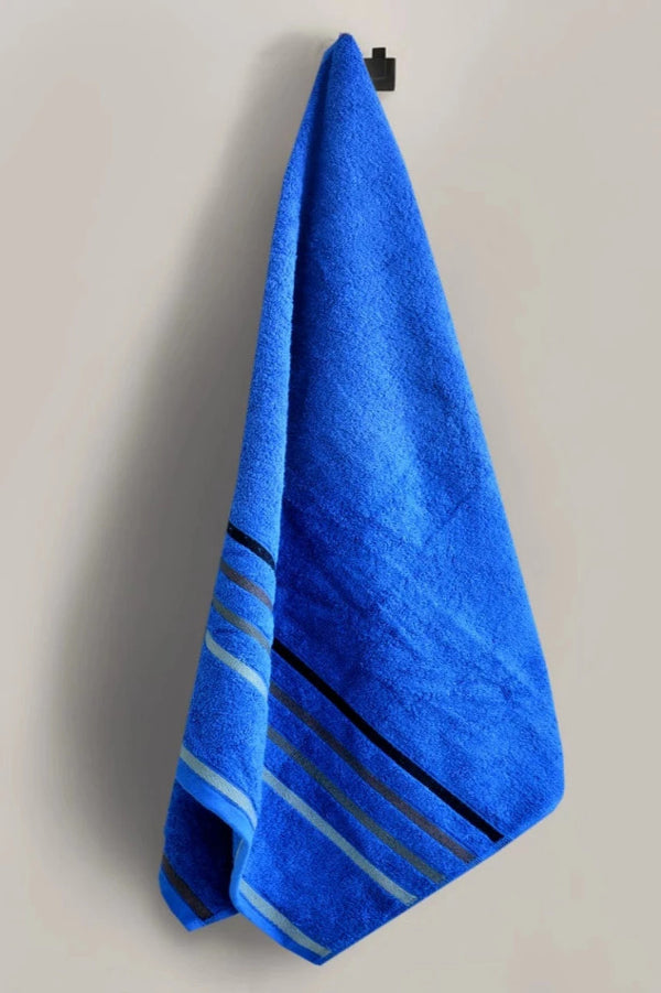 Cotton Towel With Jacquard Stripe(1894) - Royal Blue