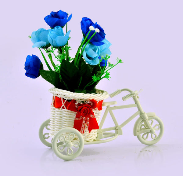 BICYCLE WITH ARTIFICIAL FLOWER-BLUE