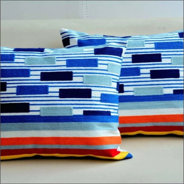 Embroidered Cushion Multi Stripe (2692)- Pack Of 2