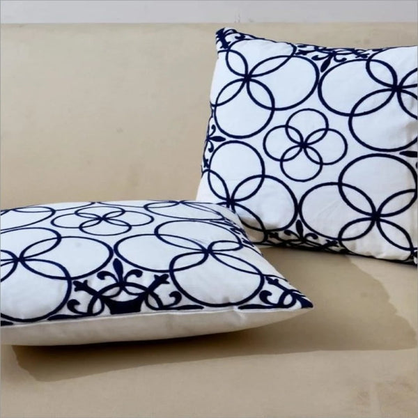 Embroidered Cushion Lagoon Geometric(2695) - Pack Of 2