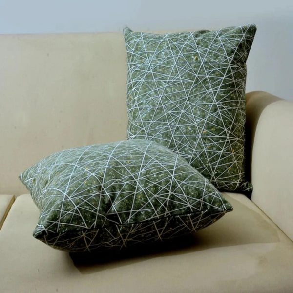 Embroidered Cushion Green Abstract - Pack Of 2
