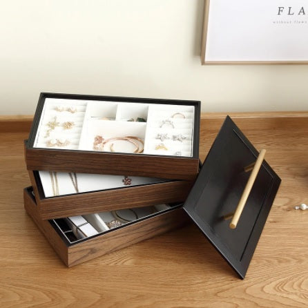 Three-layer Wooden (3555)  Jewelry Organizer for Rings & Necklace