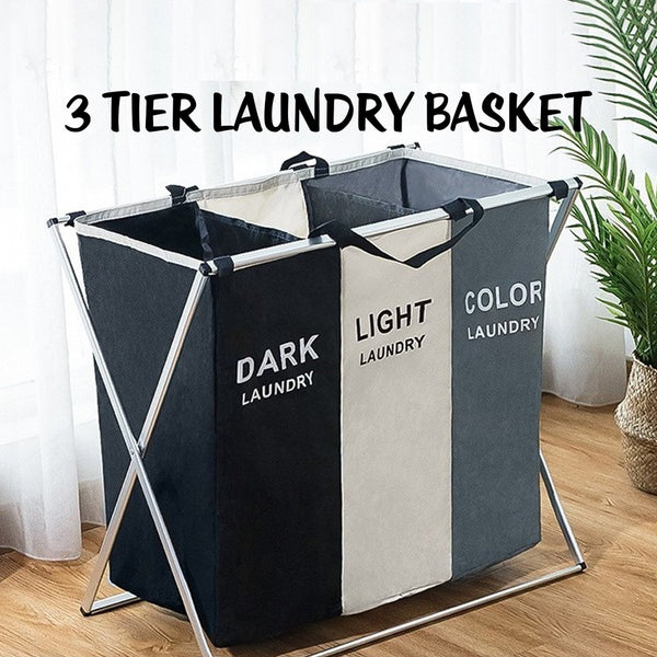 3 Tier Fold able Laundry Basket-With Frame