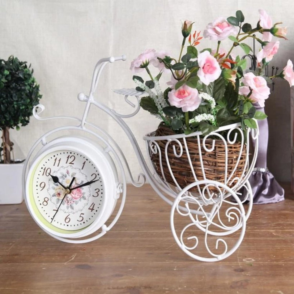 Double-sided Metal Clock Bicycle With Basket T0906  (1957) - White