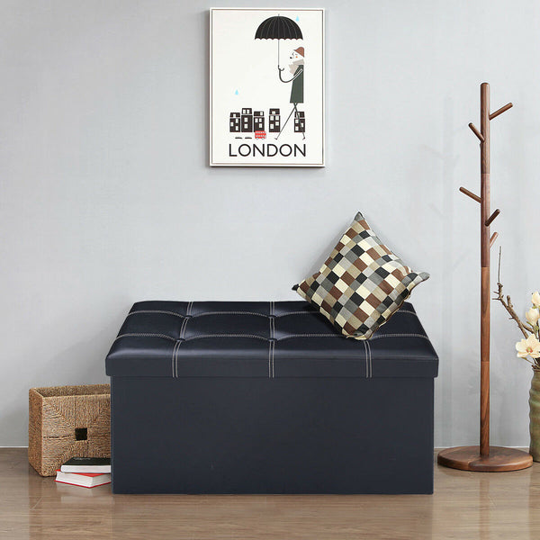 2 Seater Modular PU Leather Folding Storage (2463) - Black