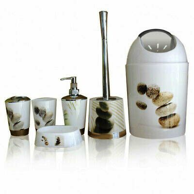 6 Pcs Printed Bathroom Accessory Set-Rock