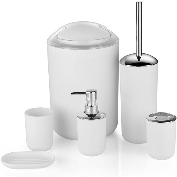 6 Pcs Plastic Bathroom Accessory Set(3700)-White
