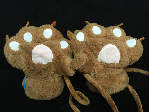 Brown Cat Cosplay Furry Soft Plush Costume Mitts Hands Gloves Paws